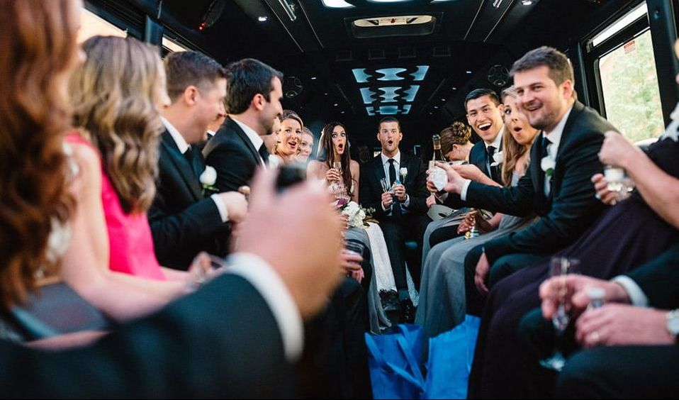 Wedding Party Bus Denver Night